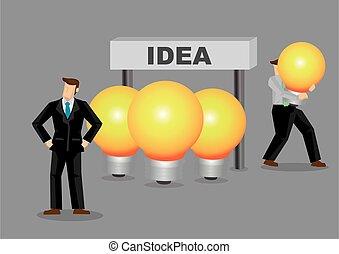 idee, rubare, affari, cartone animato, illustrazione, vettore
