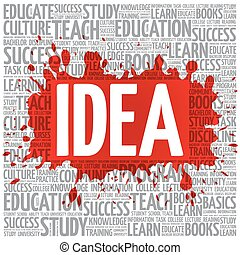 idee, woord, wolk, opleiding, concept