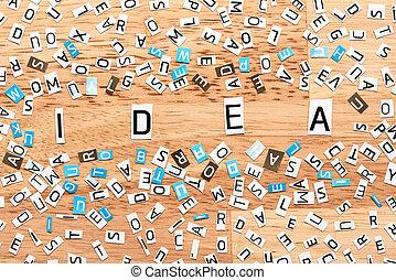 idee, wort, von, ausschneiden, briefe