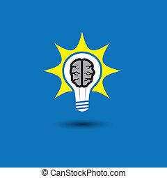 idee, zwiebel, mit, gehirn, glühen, mit, lösungen, -,...