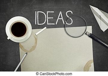 ideen, begriff, auf, schwarz, tafel, mit, leerer , papier, blatt