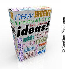 ideer, produkt, æske, nyskabende, brainstorm, begreb,...