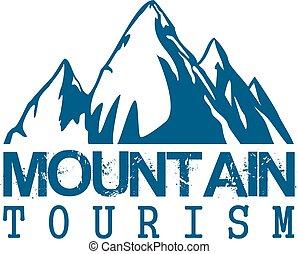 idegenforgalom, hegy, vektor, sport, ikon