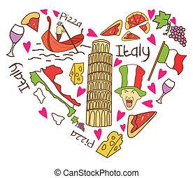 idegenforgalom, olaszország, transzparens, szeret