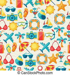 idegenforgalom, utazás, pattern., seamless