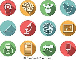 idegsebészet, vektor, színezett, ikonok