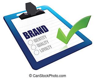 ideiglenes katalógus, csipeszes írótábla, minőség, lojalitás, személyazonosság