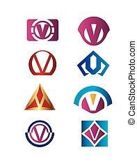 ident, marcar, jogo, letra, v, logotipo