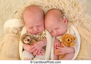 Identical twins with toys