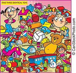 identico, tre, trovare, giocattoli