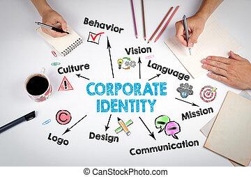 identidad corporativa, concept., el, reunión, en, el, blanco, oficina, tabla