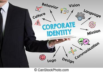identidad corporativa, concepto, con, joven, teniendo tableta, computadora