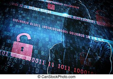 identidad escondida, de, un, pirata informático
