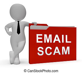 identidad, phishing, interpretación, scam, alarma, email, 3d