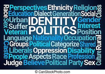 identidad, política, palabra, nube