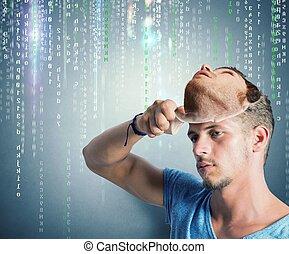 identidade escondida, de, um, hacker