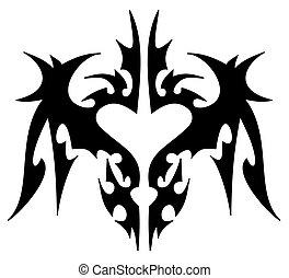 identif, tatuaggio, tribale, non, forma