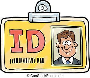 identificação, caricatura, cartão