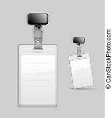 identificação, modelo, em branco, emblema, cartão id