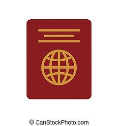 identificação, vermelho, passaporte, turista