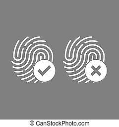 identificación, símbolo., huella digital, icon., vector, illustrations., plano, design.