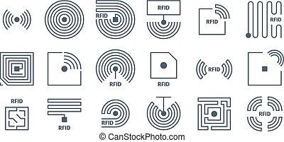 identificación, tagging, símbolos, rfid, semiconductores, ...