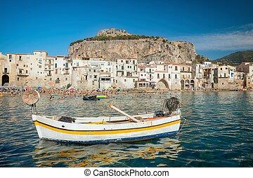 identificado, pessoas, ligado, praia arenosa, em, cefalu, sicília, itália