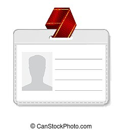 Identification Badge Vector. Id Card Blank. Name Template Profile Holder. Person Isolated Illustration