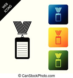 Identification badge with lanyard icon isolated. Identification card. It can be used for presentation, identity of the company. Set icons colorful square buttons. Vector Illustration