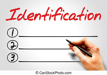 Identification blank list, business concept