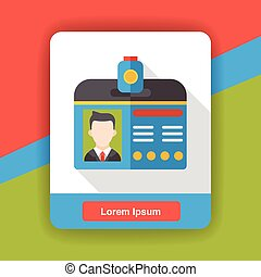 Identification card flat icon