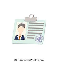 Identification card icon, cartoon style