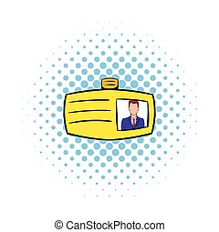 Identification card icon, comics style