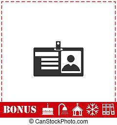 Identification card icon flat