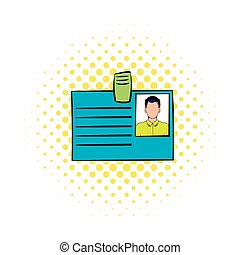 Identification card icon in comics style