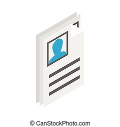 Identification card icon, isometric 3d style