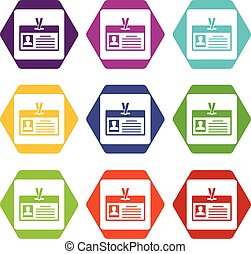 Identification card icon set color hexahedron