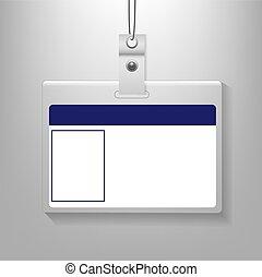 Identification Card Isolated Grey Background