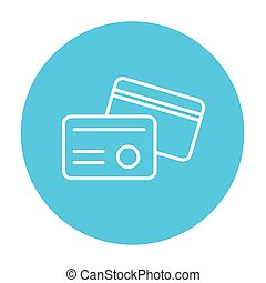 Identification card line icon for web, mobile and infographics. Vector white icon on the light blue circle isolated on white background.