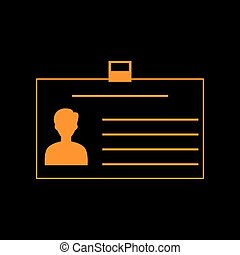 Identification card sign. Orange icon on black background. Old phosphor monitor. CRT.