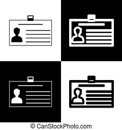 Identification card sign. Vector. Black and white icons and line icon on chess board.
