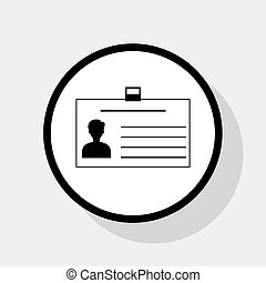 Identification card sign. Vector. Flat black icon in white circle with shadow at gray background.