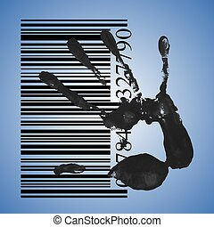 identification concept, a black handprint with barcode