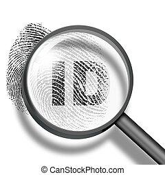 identification, concept, empreinte doigt