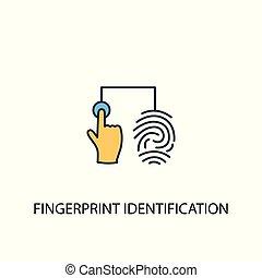 identification, contour, simple, 2, symbole, coloré, empreinte doigt, ligne, jaune, élément, illustration., bleu, concept, icon.
