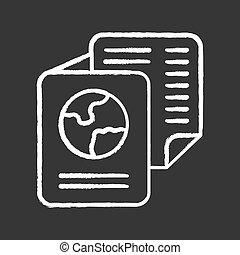 identification, icon., voyage, immigration, personnel, tableau, document., tourism., illustration., passport., craie, isolé, vol, passager, international, documents, ticket., vecteur, information.