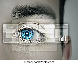 Identification of eye - Close up of male eye scanned for...