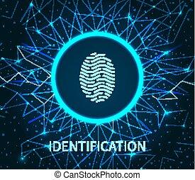 Identification of Human Fingerprint Poster Vector -...