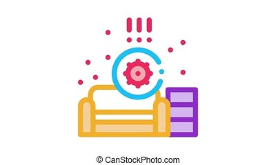 identification of sanitary problems in living room Icon Animation. color identification of sanitary problems in living room animated icon on white background