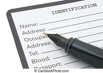 identification - blank identification form